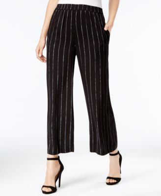 kensie Striped Cropped Wide-Leg Pants