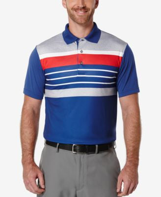 PGA TOUR Men's Big & Tall Heathered Striped Golf Polo