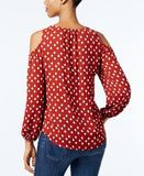 INC International Concepts Petite Printed Cold-Shoulder Blouse, Only at Vogily