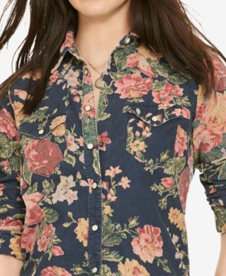 Denim & Supply Ralph Lauren Floral-Print Corduroy Western Shirt