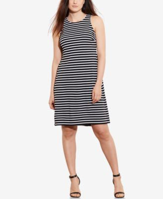 Lauren Ralph Lauren Plus Size Striped Sleeveless A-Line Dress