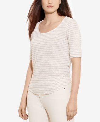 Lauren Ralph Lauren Plus Size Elbow-Sleeve Striped Shirt