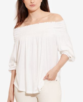 Lauren Ralph Lauren Plus Size Off-the-Shoulder Bohemian Top