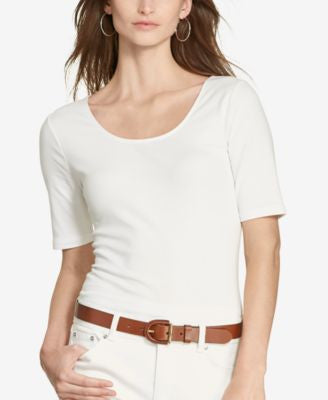 Lauren Ralph Lauren Striped Scoop-Back T-Shirt