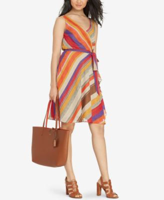Lauren Ralph Lauren Striped Wrap Dress