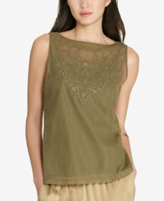 Lauren Ralph Lauren Embroidered Tulle Top