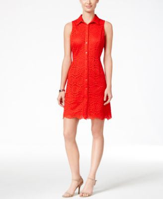 Ronni Nicole Sleeveless Lace Shirtdress