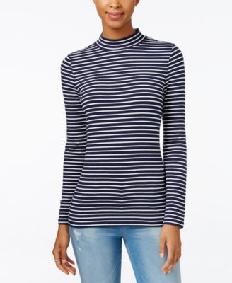 Tommy Hilfiger Ellie Striped Mock-Turtleneck Top