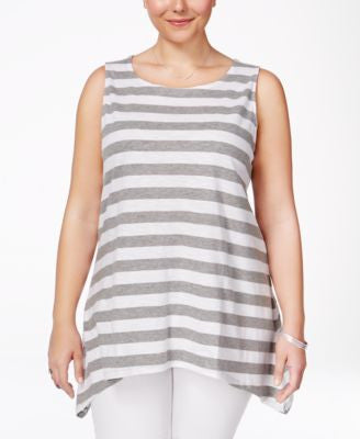 Junarose Plus Size Striped Handkerchief-Hem Tank Top
