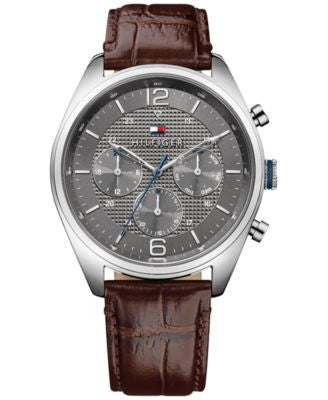 Tommy Hilfiger Men's Sophisticated Sport Brown Leather Strap Watch 44mm 1791184