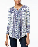 Lucky Brand Printed Button-Front Top
