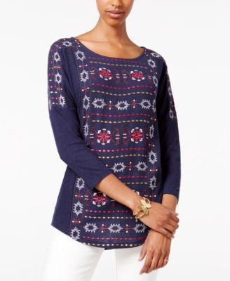 Lucky Brand Three-Quarter-Sleeve Geo-Print Top