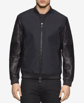 Calvin Klein Men's Mixed-Media Bomber Jacket