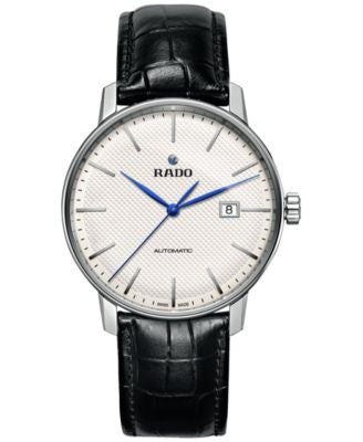 Rado Men's Swiss Automatic Coupole Classic Black Leather Strap Watch 41mm R22876015
