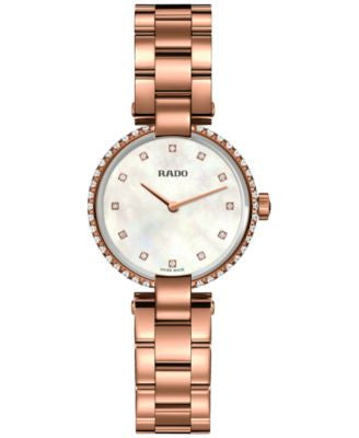 Rado Women's Swiss Coupole Diamond Accent Rose Gold-Tone PVD Stainless Steel Bracelet Watch 29mm R22