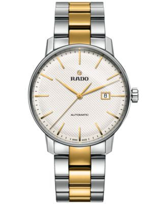 Rado Men's Swiss Automatic Coupole Classic Two-Tone Stainless Steel and Ceramos Bracelet Watch 41mm