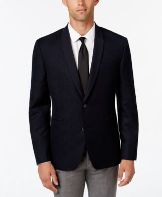 Bar III Men's Slim-Fit Dark Navy Patterned Evening Jacket, Only at Vogily