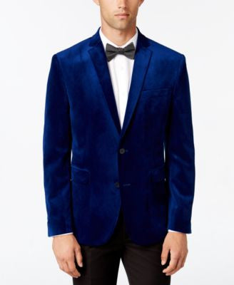 Bar III Men's Slim-Fit Cobalt Blue Velvet Sport Coat, Only at Vogily