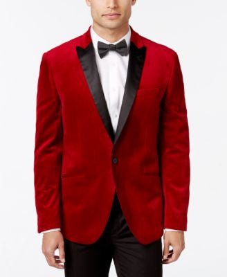 Bar III Men's Slim-Fit Red Velvet Sport Coat, Only at Vogily