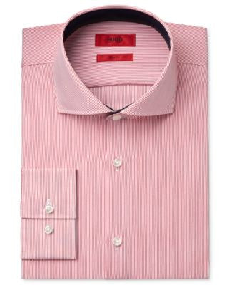 HUGO Men's Slim-Fit Red Stripe Dress Shirt