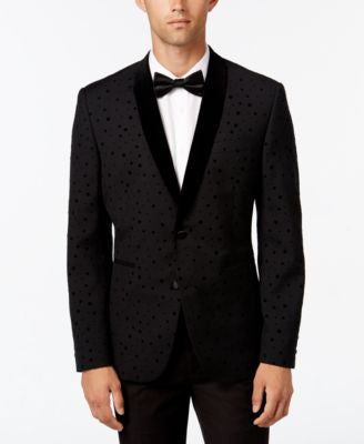 Bar III Men's Slim-Fit Black Flocked-Dot Evening Jacket, Only at Vogily