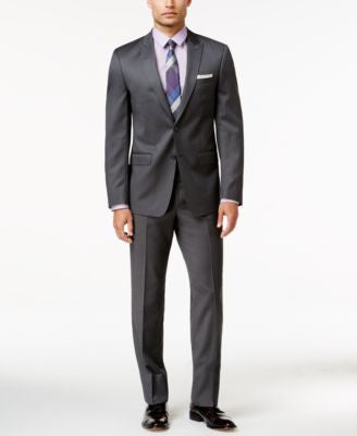 Calvin Klein STEEL Men's Extra Slim-Fit Micro-Grid Suit