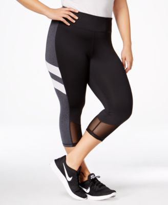 Ideology Plus Size Colorblocked Capri Leggings, Only at Vogily