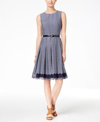 Tommy Hilfiger Belted Houndstooth Fit & Flare Dress