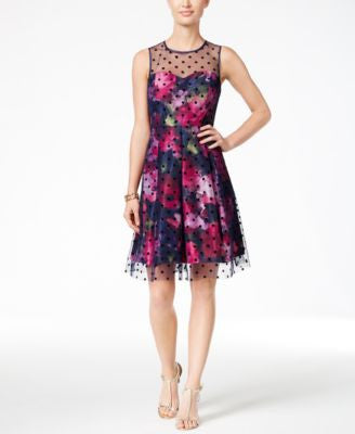 Sandra Darren Petite Illusion-Dot Floral-Print A-Line Dress