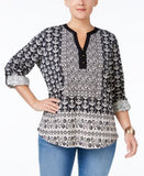 Style & Co. Plus Size Printed Split-Neck Blouse, Only at Vogily