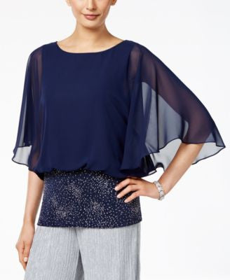 MSK Embellished Angel-Sleeve Blouse