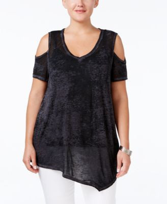 Style & Co. Plus Size Cold-Shoulder Asymmetrical-Hem Top, Only at Vogily