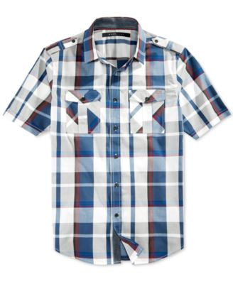 Sean John Men's Plaid Epaulette Short-Sleeve Shirt