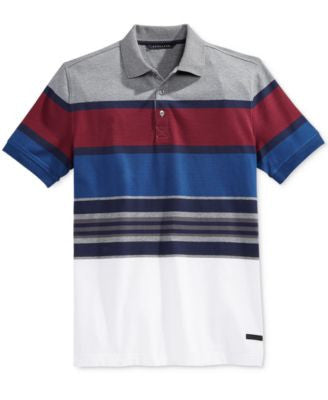 Sean John Men's Colorblocked Striped Polo