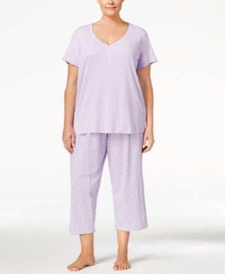 Charter Club Plus Size Mix It Henley-Style Top and Cropped Pants Pajama Set, Only at Vogily