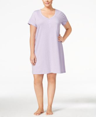 Charter Club Plus Size V-Neck Henley-Style Sleepshirt, Only at Vogily