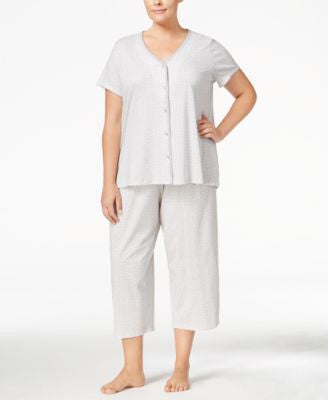 Charter Club Plus Size Scallop-Trimmed Top and Cropped Pants Pajama Set, Only at Vogily
