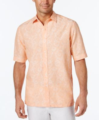 Tasso Elba Men's Texture Floral-Scroll Jacquard Short-Sleeve Shirt, Only at Vogily