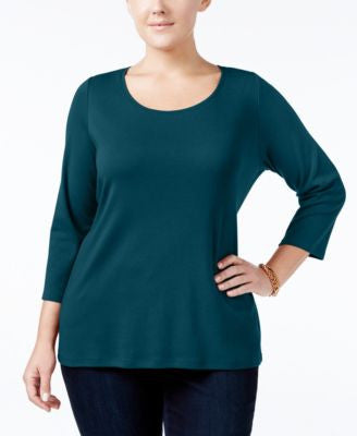 Charter Club Plus Size Pima Cotton Top, Only at Vogily