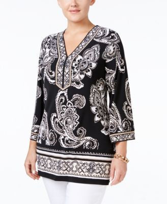 JM Collection Plus Size Paisley-Print Tunic, Only at Vogily