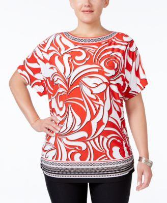 JM Collection Plus Size Embellished Printed Top, Only at Vogily
