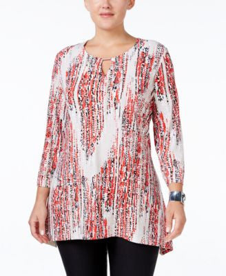 JM Collection Plus Size Printed Keyhole Top, Only at Vogily
