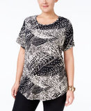 JM Collection Plus Size Printed Scoop-Neck Top, Only at Vogily