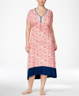 Ellen Tracy Plus Size Printed High-Low Caftan