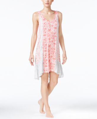 Ellen Tracy Mixed-Print High-Low Nightgown