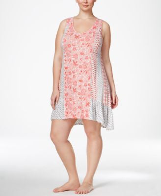 Ellen Tracy Plus Size Mixed-Print Chemise