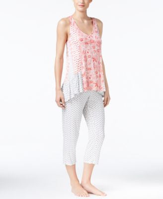 Ellen Tracy Mixed-Print Top and Cropped Pants Pajama Set