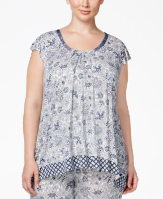 Ellen Tracy Plus Size Mixed-Print Pajama Top