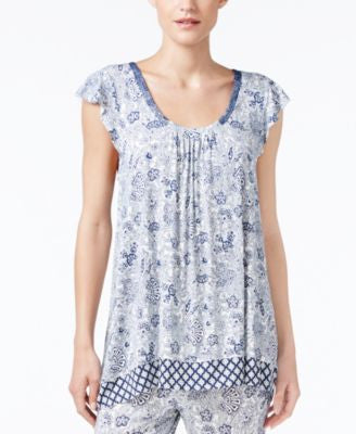Ellen Tracy Mixed-Print Pajama Top