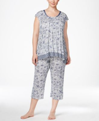 Ellen Tracy Plus Size Mixed-Print Top and Cropped Pajama Pants Sleep Separates